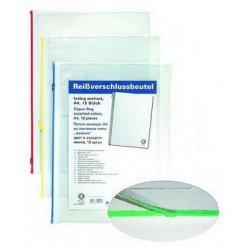 Папка пластиковая А4 конверт с молнией Office Point 12шт ассортимент