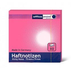 Блок  бумаги с клеевым краем Office Point 75 мм х 75 мм розовый