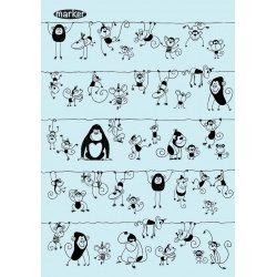 """Тетрадь  А5/120 стр, """"Много диких обезьян""""  клетка,цв. бло"""