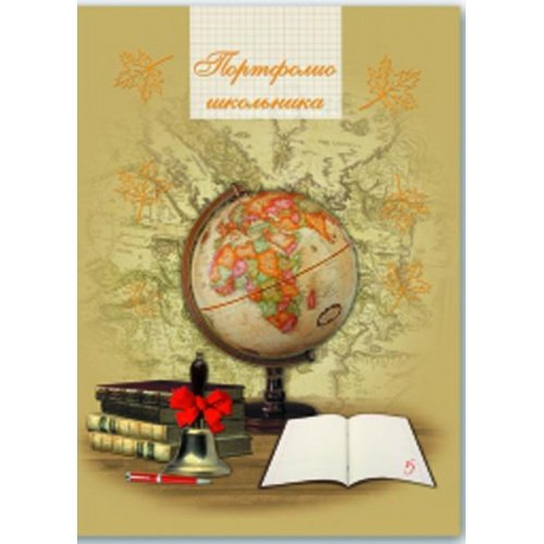 Портфолио школьника Глобус  и книги 240*325 мм, 20 вкл,7 разделов