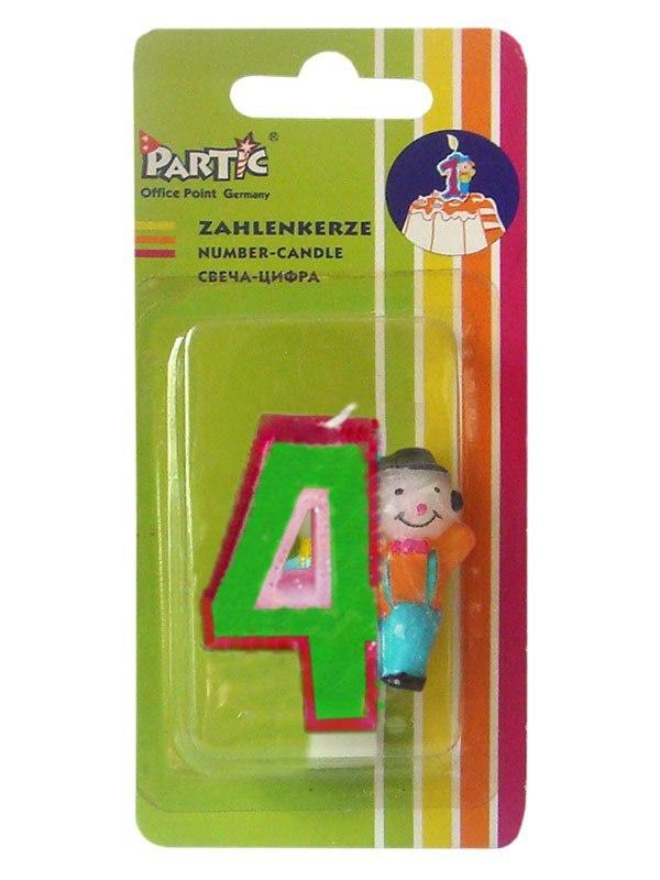 """Свеча-цифра Partic """"4"""" клоун 6.5 см 1 шт"""