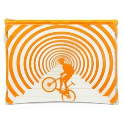 Папка пластиковая А4 Helios на молнии с рисунком Велосипедист