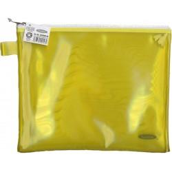 Папка пластиковая А5 Helios с молнией жёлтая