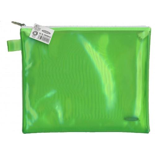 Папка пластиковая А5 Helios с молнией зелёная