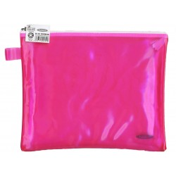 Папка пластиковая А5 Helios с молнией розовая