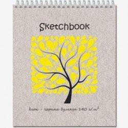 Блокнот для зарисовок SKETCHBOOK , 120*200, 20 л., гребень, черная бум, жест.подл.