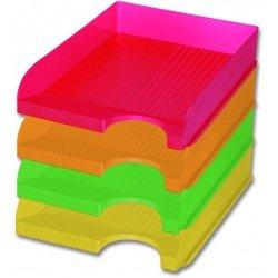 Поддон для бумаг Office Point А4 неоновый желтый
