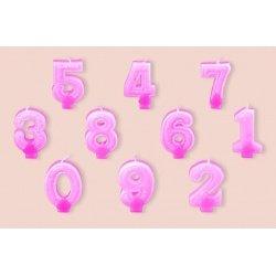 "Свеча-цифра ""0"" с блёстками Partic 7 см 1 шт розовая"