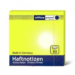 Блок  бумаги с клеевым краем Office Point 75 мм х 75 мм желтый