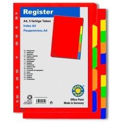 Разделитель Office Point пластик А4 5 цветов