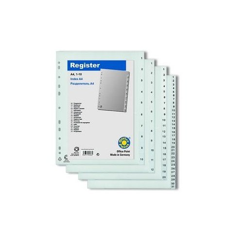 Разделитель Office Point пластик А4 1-12