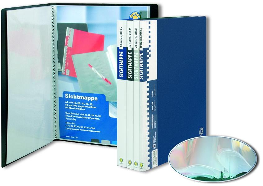 Папка пластиковая А4 20 прозрачных вкладышей Office Point синяя