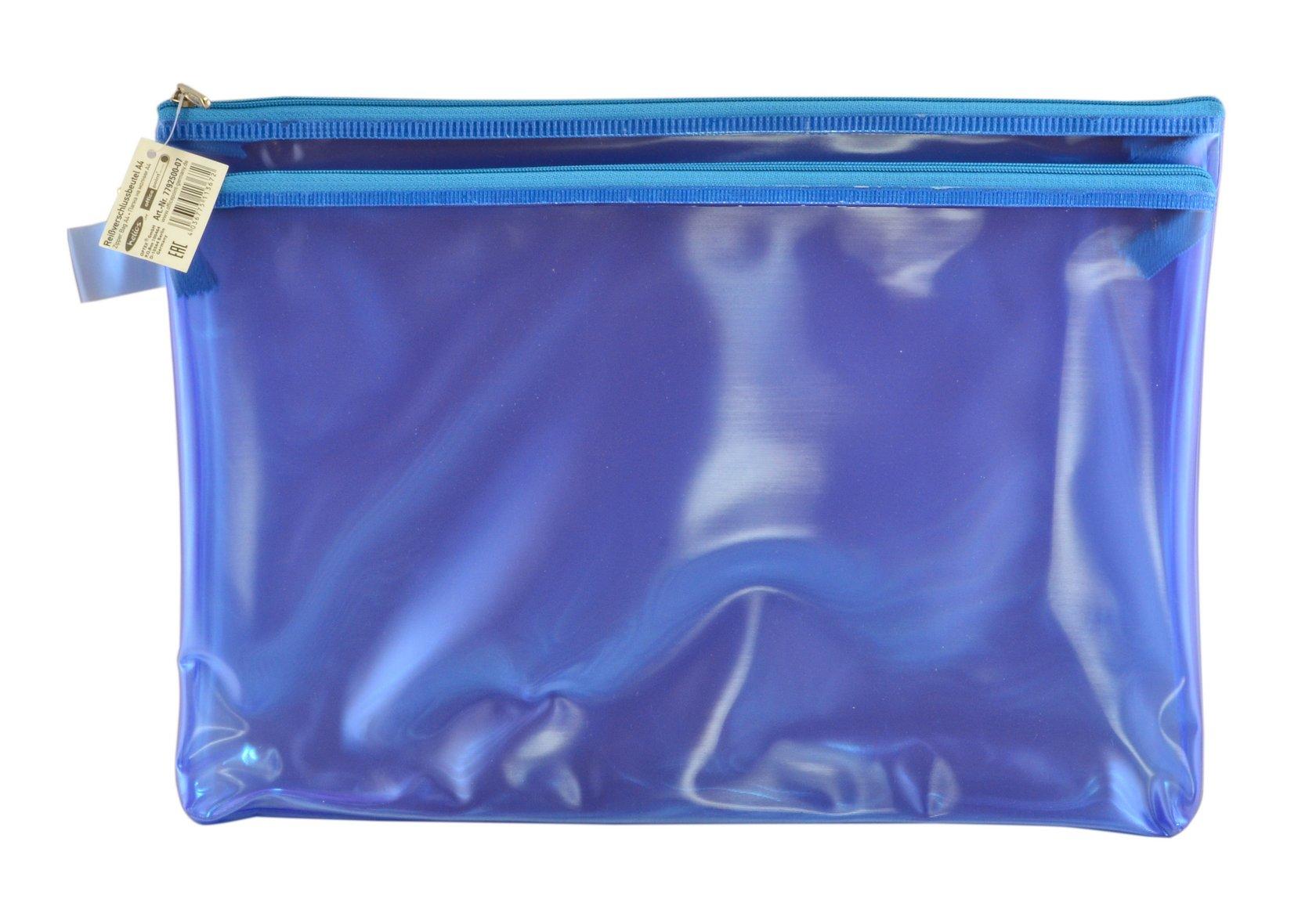 Папка пластиковая А4 Helios с молнией 2 отделения синяя