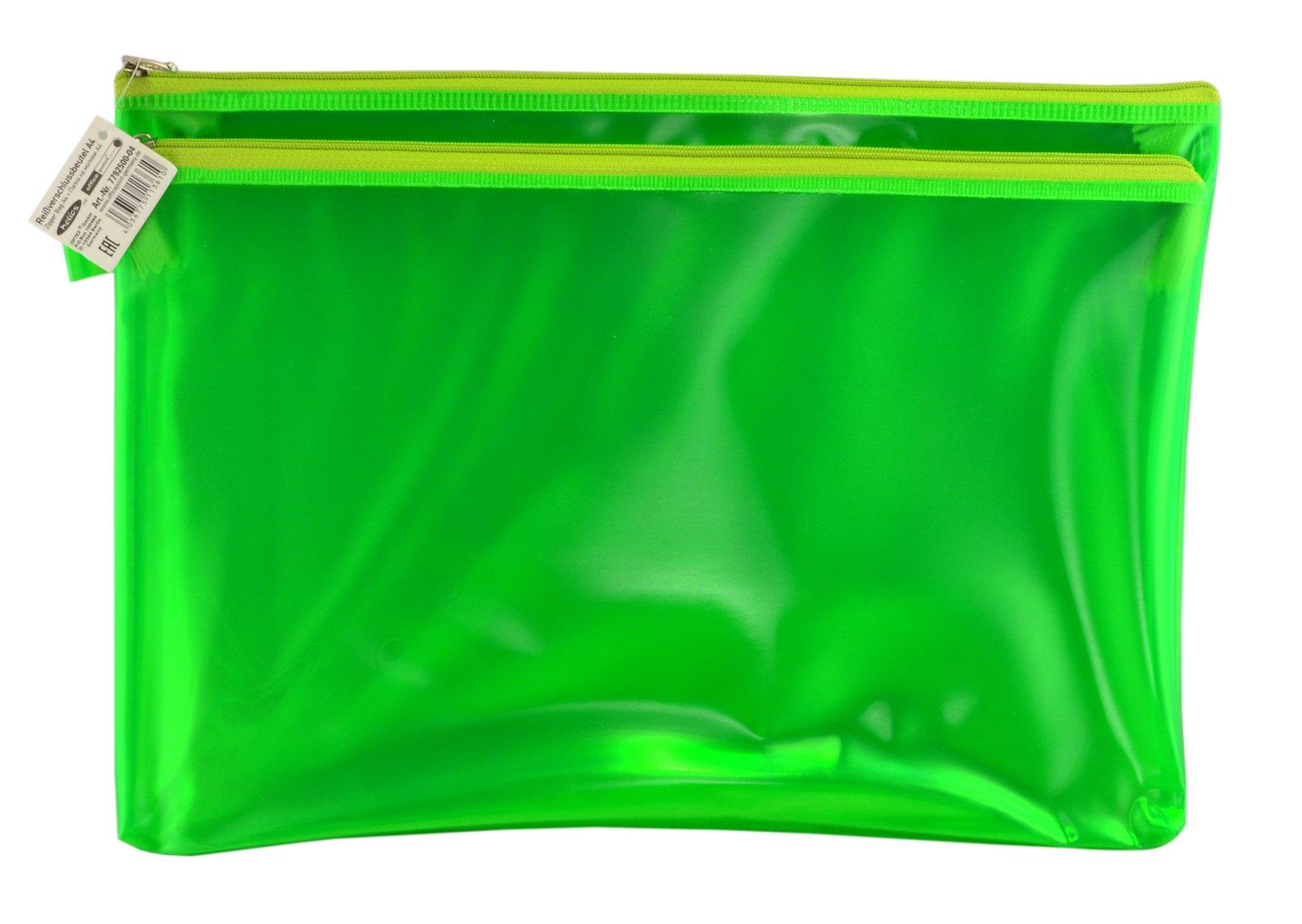 Папка пластиковая А4 Helios с молнией 2 отделения зелёная