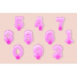 "Свеча-цифра Partic ""2"" с блёстками 7см 1шт розовая"