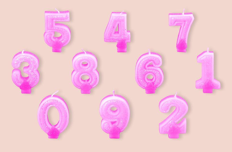 "Свеча-цифра Partic ""4"" с блёстками 7см 1шт розовая"