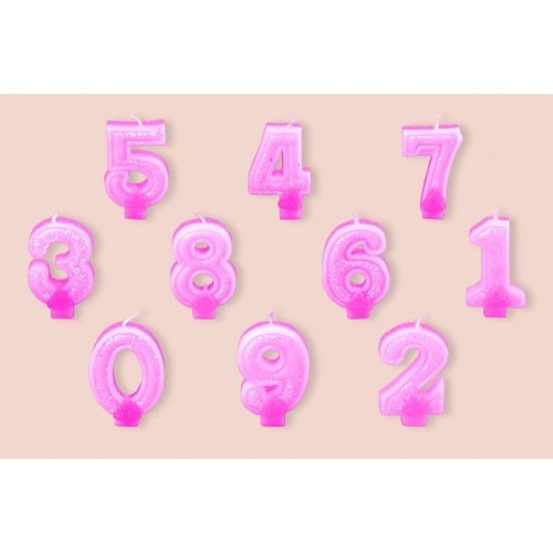 "Свеча-цифра ""8"" Partic с блёстками 7см 1шт розовая"