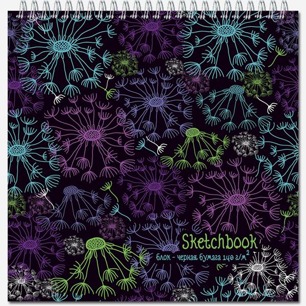Блокнот д/зарисовок SKETCHBOOK BLACK Noturn, 280*280, 60л., гребень, блок черный  140 гр. жест.подл.