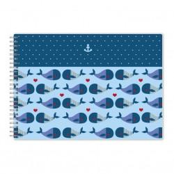 """Альбом для рисования """"Sea"""", киты 290*210 мм/40 л, мяг. переп, спираль"""