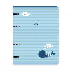 "Тетрадь  ""Sea"", кит 163х212 мм, 120 л., клетка, кольц. механизм, картон"