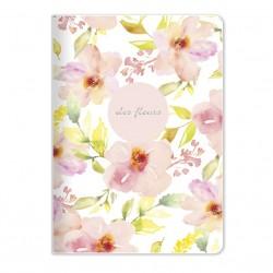 "Тетрадь ""Fleurs"", розовый 150х210 мм/48 л, мягк. переп.,скрепка,  клетка"