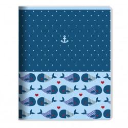 """Тетрадь """"Sea"""" 165*203 мм/48 л, киты, мягк. переп, скрепка,  клетка"""