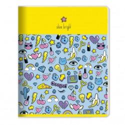 "Тетрадь ""Stickers"" желтый,165*203 мм/48 л,  мягк. переп, скрепка,  клетка"