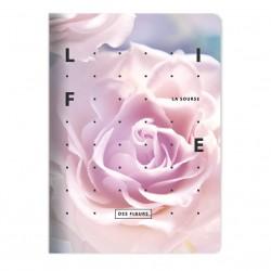 "Тетрадь ""Rose"", светло-розовый,150х210 мм/48 л, мягк. переп., скрепка,  клетка"