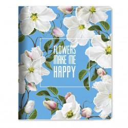 """Тетрадь """"Happy flower"""" голубой, 165*203 мм/48 л,  мягк. переп, скрепка,  клетка"""