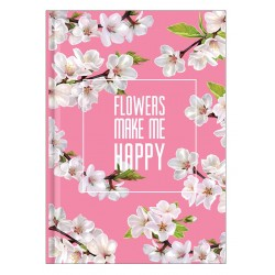 "Тетрадь ""Happy flower"" розовый, 140х200 мм/128 л. книжный переп, клетка"
