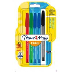 Ручка шариковая Paper Mate InkJoy 100 с колпачком 5шт в блистере
