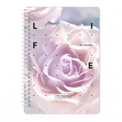 "Тетрадь ""Rose"", розовый,144х204 мм/120 л, тверд.. переп.,спираль,  клетка"