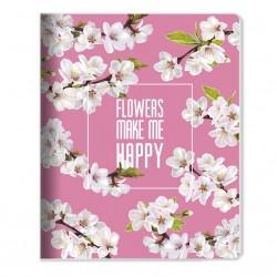 "Тетрадь ""Happy flower"" розовый 165*203 мм/48 л,,мягк. переп, скрепка,  клетка"
