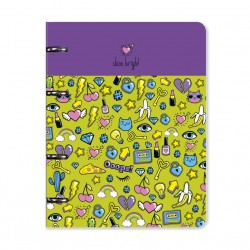 "Тетрадь  ""Stickers"", сиреневый 163х212 мм, 120 л., клетка, кольц. механизм, картон"
