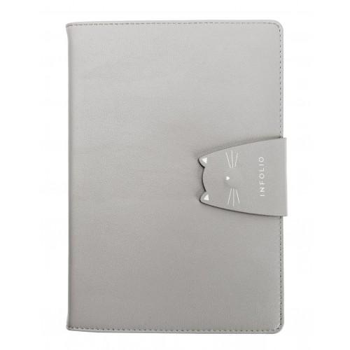 "Ежедневник не датированный ""Kitty"" 140х200 мм, 320 стр., серый,  суперобложка, магн. клап."
