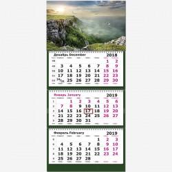 """Календарь трехсекционный 2019 г. """"Горы. Птицы"""""""