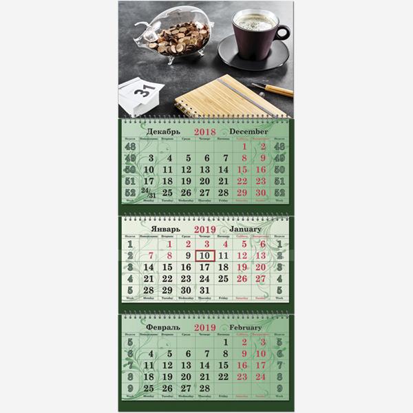 """Календарь трехсекционный 2019 г. Супер Премиум """"Символ года. Свинка с монетами"""""""