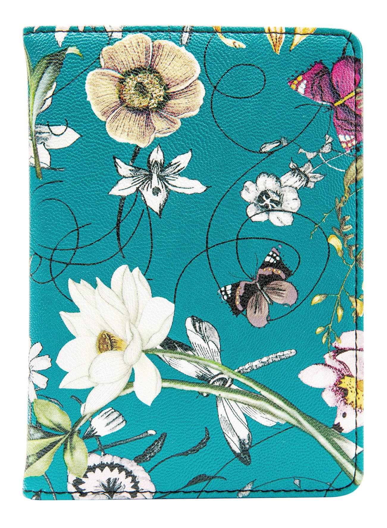 """Обложка для паспорта """"Butterfly"""", 100*135 мм, искуств. кожа, аква"""