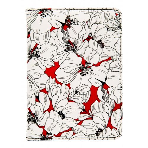 """Обложка для паспорта """"Garden"""", 100*135 мм, искуств. кожа, красная"""