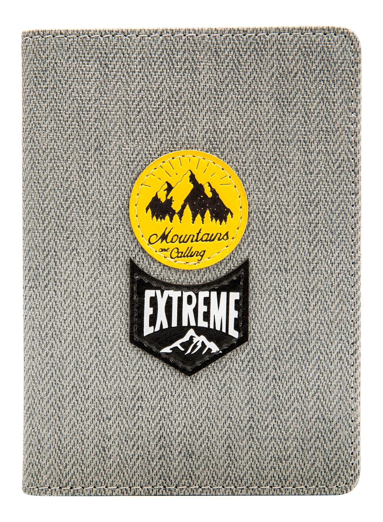 """Обложка для паспорта """"Extreme"""", 100*135 мм, искуств. кожа, серая"""