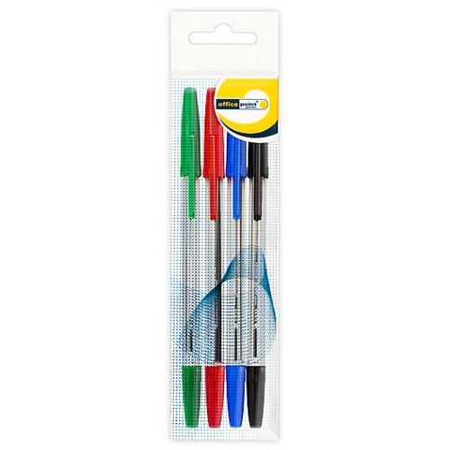 Ручка Office Point шариковая KS-610 0.7мм 4шт/уп ассортимент