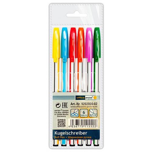 Ручка Office Point шариковая KS-630 0.7мм синяя 6 шт одноразовые в полибеге