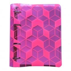 """Тетрадь """"Fantastic"""", розовый пластик, 173х212 мм, 120 л., клетка, кольцевой механизм"""
