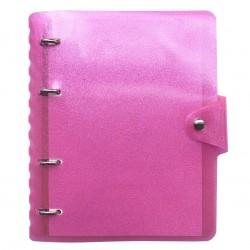 """Тетрадь """"Tinsel"""", розовый пластик, 173х212 мм, 120 л., клетка, кольцевой механизм"""