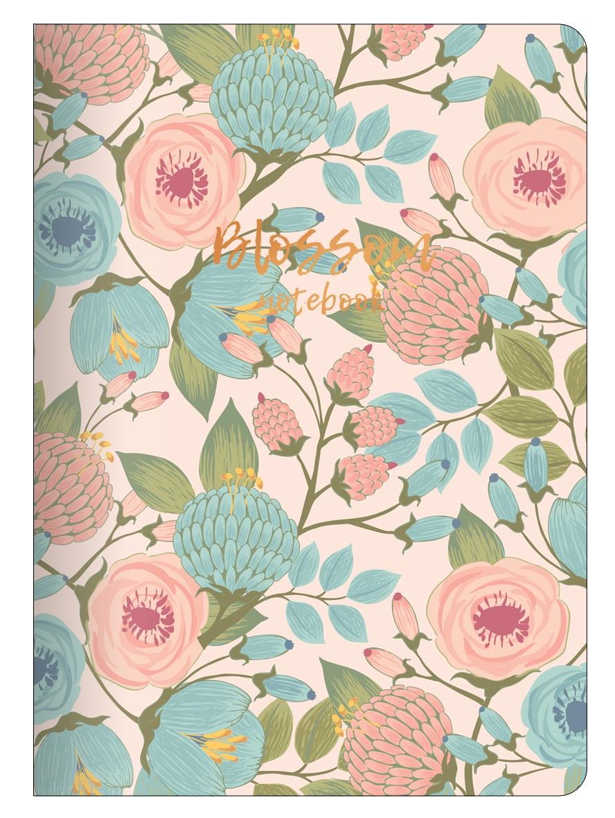 "Тетрадь ""Retro flowers"", розовый, 150х210 мм/48 л, мягк. переп.,скрепка,  клетка"