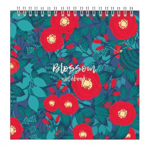 """Альбом для рисования """"Retro flowers""""172*172 мм/40л, красный, нелинов., мяг. переп, спираль"""