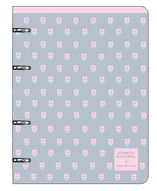 "Тетрадь ""Easy"", розовый,163х212 мм, 120 л., клетка, кольц. механизм, картон"