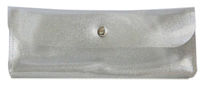 """Пенал-косметичка """"Tinsel"""" 185*73 мм серебряный пластик, на кнопке"""