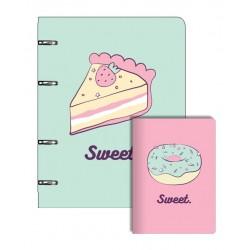 "Набор ""Sweet"": Tетрадь 163х212/80 л, клетка , на кольцах и блокнот 105х140/32 л скрепка"