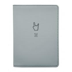 """Обложка для паспорта """"Rock-n-roll"""", 100*135 мм, искуств. кожа, серый"""